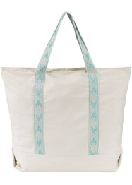Sac shopper en coton, bpc bonprix collection, beige/menthe pastel