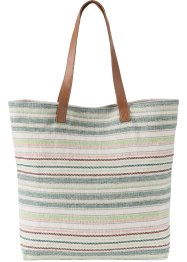 Shopper en coton rayé, bpc bonprix collection, blanc cassé/marron/multi