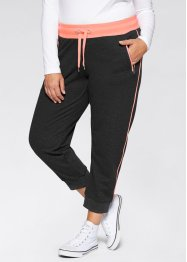 Pantalon de jogging longueur 7/8, bpc bonprix collection, noir/saumon fluo