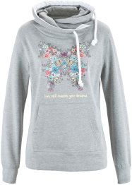 Sweat-shirt à capuche, bpc bonprix collection, gris clair chiné imprimé
