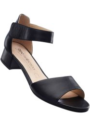Sandales en cuir largeur confortable G, bpc selection, noir