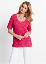 Pull ajouré, manches courtes, bpc selection, rose hibiscus