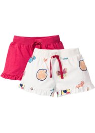 Lot de 2 shorts en jersey avec ruchés, bpc bonprix collection, blanc cassé patches+rose hibiscus