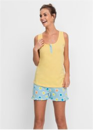 Pyjashort, bpc bonprix collection, jaune clair/pois
