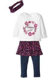 T-shirt + jupe + legging (Ens. 4 pces.), bpc bonprix collection