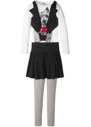 T-shirt-gilet + jupe + legging (Ens. 3 pces.), bpc bonprix collection