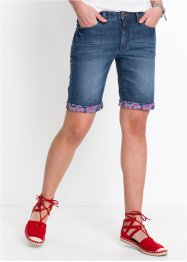 Bermuda en jean extensible authentique avec revers coloré, John Baner JEANSWEAR