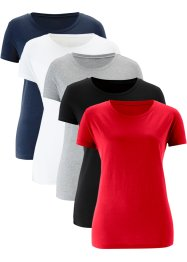 Lot de 5 T-shirts longs col rond, manches courtes, bpc bonprix collection