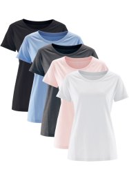 Lot de 5 t-shirts avec col rond, bpc bonprix collection