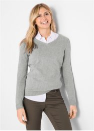 Pull en maille col V, coton recyclé, bpc bonprix collection