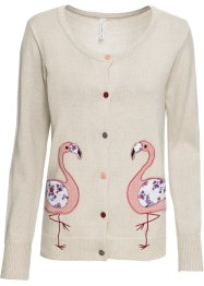 Cardigan avec application flamant rose, RAINBOW
