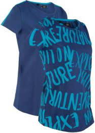 Lot de 2 T-shirts de sport en coton, manches courtes, bpc bonprix collection