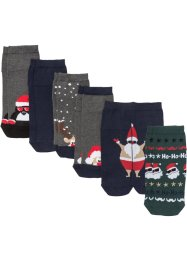 Lot de 6 paires de chaussettes courtes de Noël (5+1), bpc bonprix collection