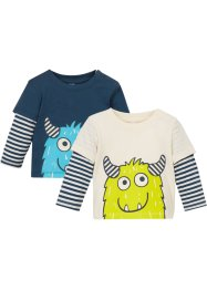 Lot de 2 T-shirts bébé double épaisseur en coton bio, bpc bonprix collection