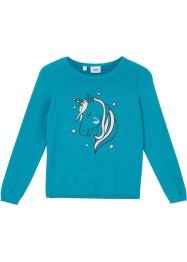 Pull fille en maille coton avec licorne, bpc bonprix collection
