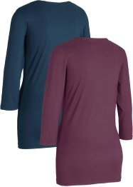 Lot de 2 T-shirts de sport, manches 3/4, bpc bonprix collection