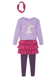 T-shirt, jupe, legging, bandeau de cheveux (Ens. 4 pces.) fille, bpc bonprix collection