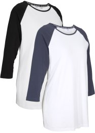 Lot de 2 T-shirts de sport en coton bio, manches 3/4, bpc bonprix collection
