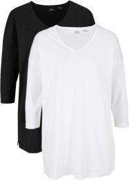 Lot de 2 T-shirts manches 3/4 coupe ample, bpc bonprix collection