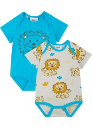 Lot de 2 bodies bébé manches courtes en coton bio, bpc bonprix collection