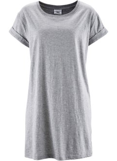 T-shirt long boxy, manches courtes, bpc bonprix collection, gris clair chiné