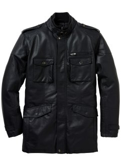 Veste longue synthétique imitation cuir Regular Fit, bpc selection, noir