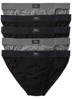 Lot de 5 tangas, bpc bonprix collection, noir/gris chiné