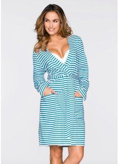peignoir en jersey bpc bonprix collection turquoise fonc blanc - Robe De Chambre Femme