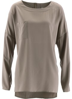 Blouse avec zip au dos, bpc bonprix collection, taupe