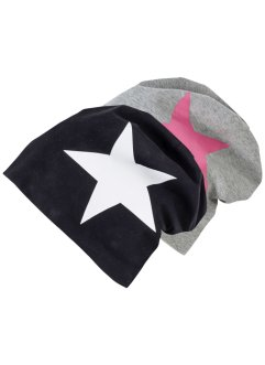 Lot de 2 beanies en jersey, bpc bonprix collection, noir/blanc + gris/rose étoile