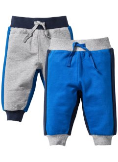 Lot de 2 pantalons sweat bébé coton bio, bpc bonprix collection, bleu azur/gris clair chiné