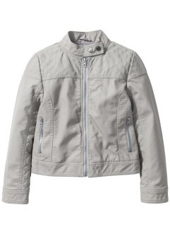 Veste biker en synthétique imitation cuir, bpc bonprix collection, gris