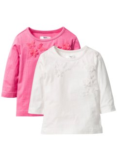 Lot de 2 T-shirts avec application, bpc bonprix collection