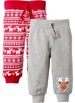 Lot de 2 pantalons sweat bébé en coton bio, bpc bonprix collection, gris clair chiné/rouge
