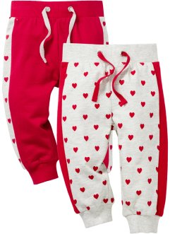 Lot de 2 pantalons sweat bébé en coton bio, bpc bonprix collection, écru chiné/rouge