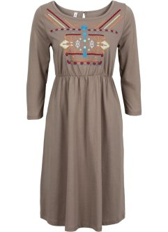 Robe avec broderie, RAINBOW, taupe/multicolore