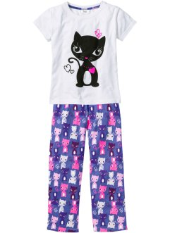 Pyjama (Ens. 2 pces.), bpc bonprix collection, blanc/bleu mauve