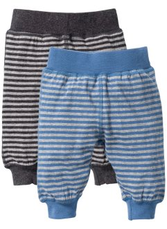 Lot de 2 pantalons bébé en coton bio, bpc bonprix collection, gris clair chiné/bleu jean/anthracite chiné