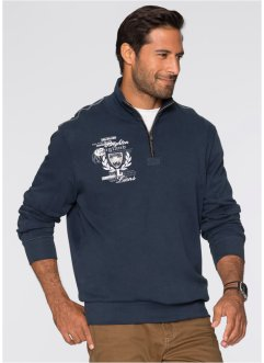 Sweat-shirt col camionneur Regular Fit, bpc selection, bleu foncé