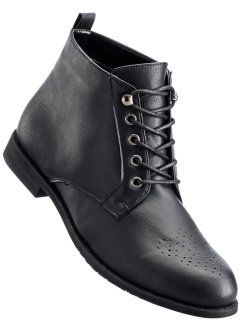 Bottines à lacets en 2 largeurs, bpc bonprix collection, noir