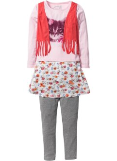 T-shirt avec gilet + jupe + legging (Ens. 3 pces.), bpc bonprix collection