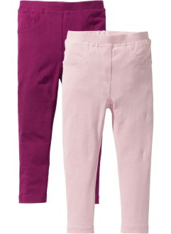 Lot de 2 jeggings, bpc bonprix collection, prune + rose dragée