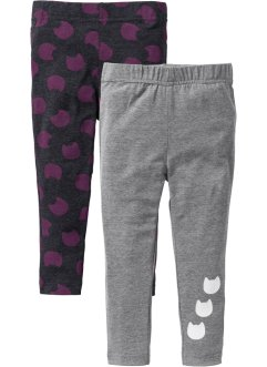 Lot de 2 leggings, bpc bonprix collection, anthracite chiné+gris chiné