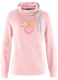 Sweat col roulé, bpc bonprix collection, rose nacré imprimé