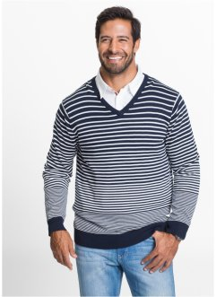Pull rayé col en V Regular Fit, bpc bonprix collection