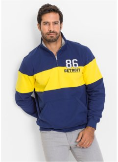 Sweat-shirt col camionneur Regular Fit, bpc selection, bleu foncé/jaune