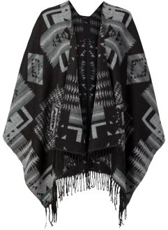 Poncho, bpc bonprix collection, noir/gris