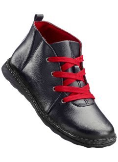 Bottines en cuir, bpc selection, noir/rouge