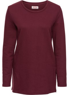 Sweat-shirt long avec fentes, John Baner JEANSWEAR, rouge érable