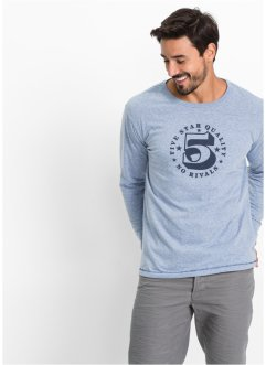 T-shirt manches longues Regular Fit, bpc bonprix collection, bleu clair chiné